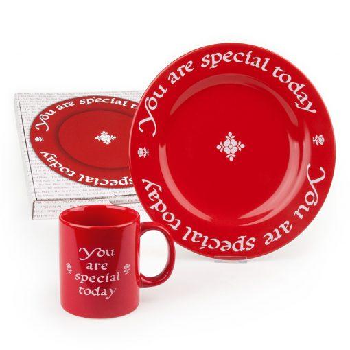 Red plate and matching mug