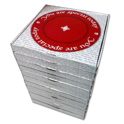case of 12 red plates